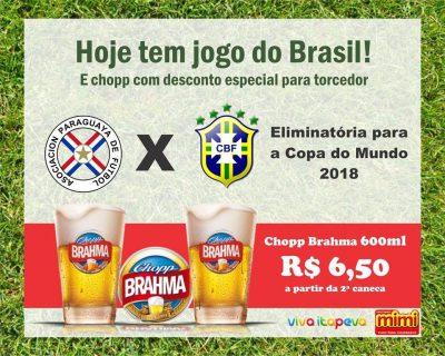 Jogo do Brasil e chopp Brahma com desconto especial no Espetinhos Mimi